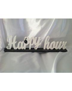 Houten tekst Happy hour
