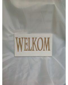 Houten handgemaakt hangbordje Welkom in de kleur wit
