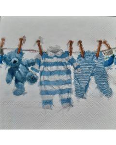 Servetten geboorte jongen kleertjes