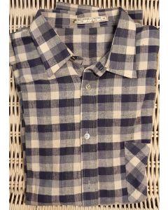 Overhemd flanel, geruit blauw