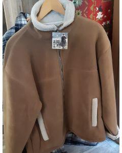 Sherpa fleecevest/jas met rits, zand