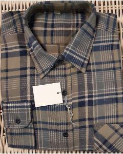 Overhemd flanel, blauw beige