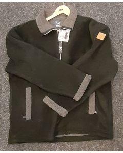 Sherpa Fleecevest/jas met rits, zwart
