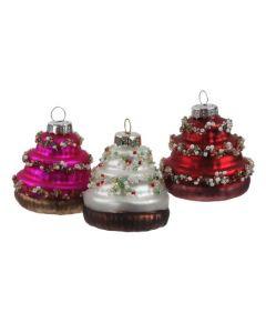 Kerstbal glas cupcake assorti