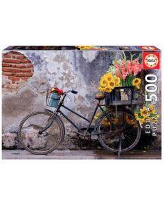 Puzzel fiets met bloemen