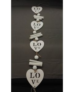 Hanger met 5 hartjes, Love