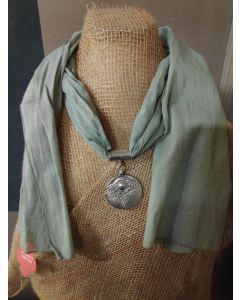 Sjaal met medaillion kleur groen