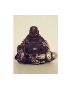 Lucky Boeddha zwart-zilver 8 cm