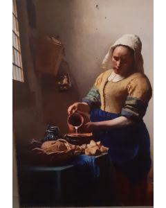 Vintage kaart Het Melkmeisje van Johannes Vermeer