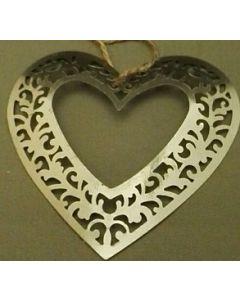 Decoratie hart metaal  set van 3