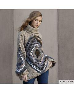 Gehaakte maxi Sweater compleet pakket 10 Bollen plus patroon