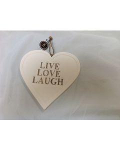 Houten hart 20 cm Live, Love, Laugh